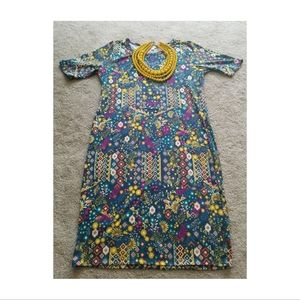 Lularoe Julia Fitted Midi Dress in Teal and Yellow